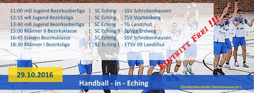 HANDBALL – Heimspieltag am 29.10.2016 in Eching
